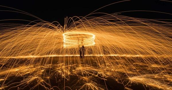 Steel wool photography. Lightpainting with steel wool